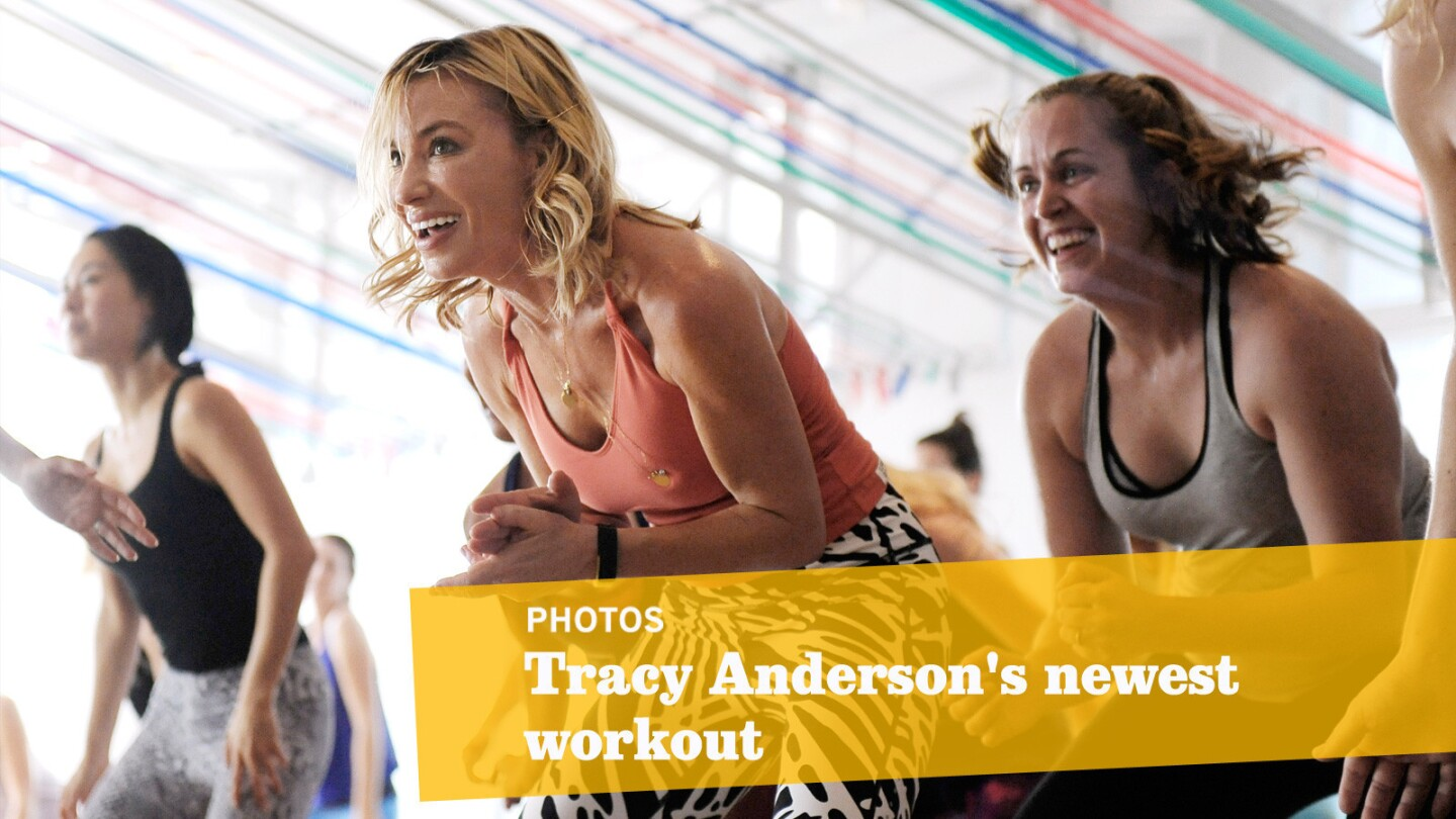 Tracy Anderson runs her Tava workout in her Brentwood studio.