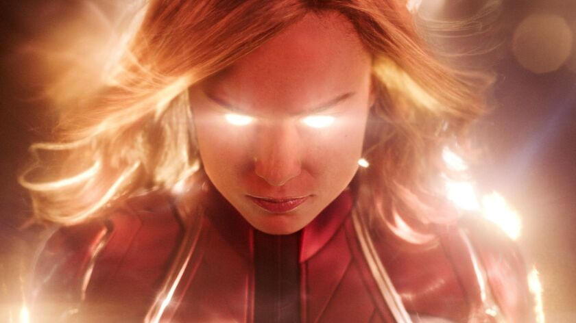 "This image released by Disney-Marvel Studios shows Brie Larson in a scene from ""Captain Marvel."" (Di"