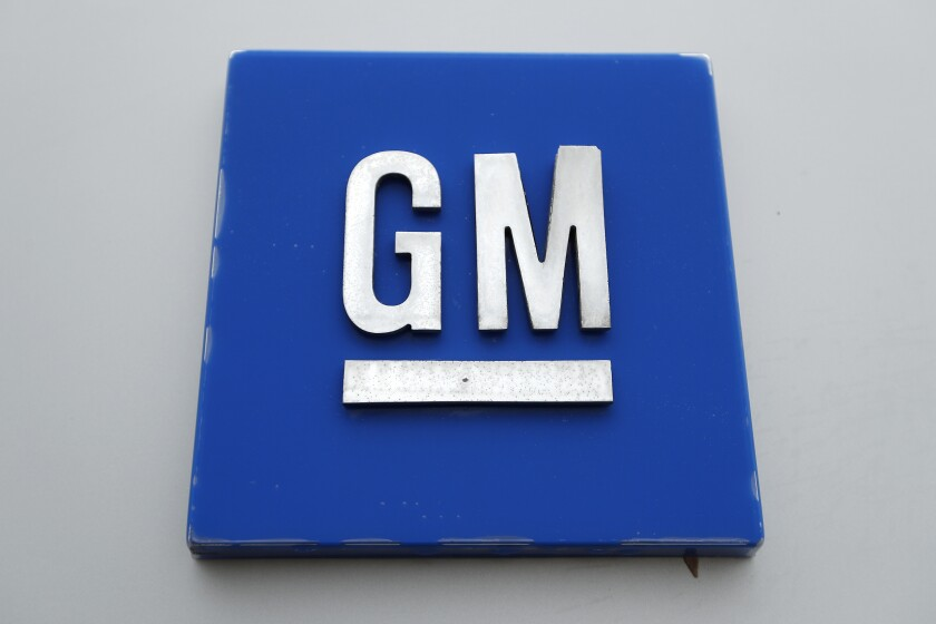 FILE - This Jan. 27, 2020 file, photo shows the General Motors logo in Hamtramck, Mich. General Motors is recalling more than 217,000 vehicles in the U.S. and Canada because transmission oil can leak, causing them to stop or catch fire. (AP Photo/Paul Sancya, File)