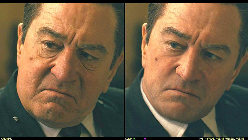 Before-and-after comparison of de-aged Robert De Niro as Frank Sheeran.
