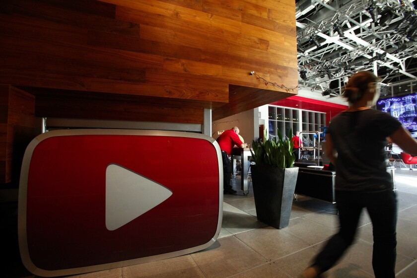 The lobby of the YouTube Space LA features a huge version of the YouTube play button in Playa Vista.