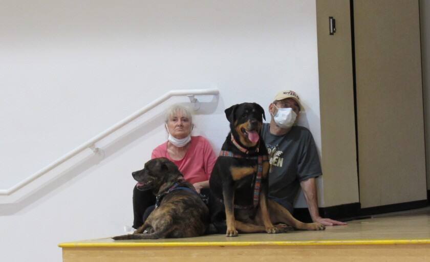 A displaced couple from the Valley Fire and their dogs, Rosa and Rita, take refuge in the Joan MacQueen Middle School gym.