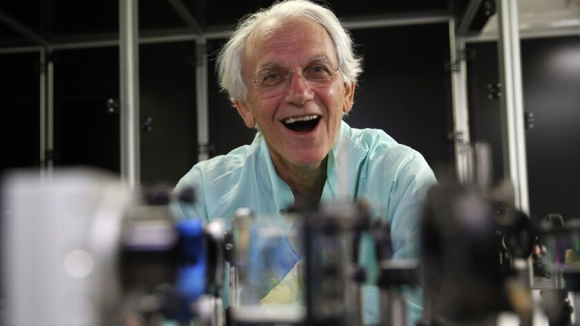 French scientist Gerard Mourou in his laboratory at the École Polytechnique in Palaiseau, France, after winning the Nobel Prize for his work on lasers.