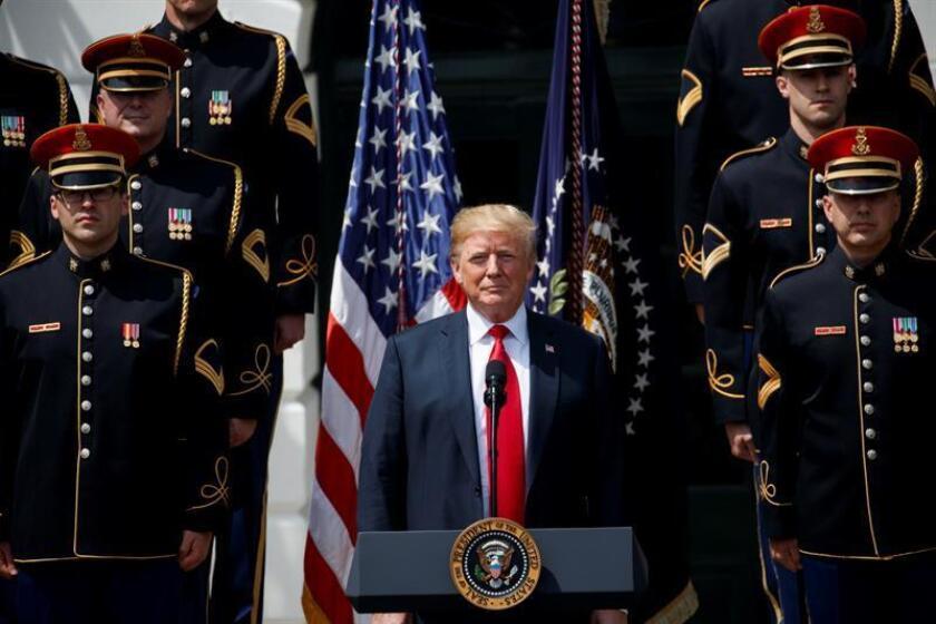 """El presidente estadounidense, Donald J. Trump, durante el evento """"celebración patriótica"""" este martes 5 de junio de 2018, en la Casa Blanca, en Washington (EE.UU.). EFE"""