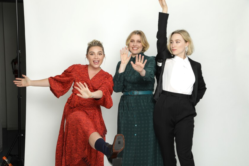 "Florence Pugh, left, director Greta Gerwig and Saoirse Ronan of ""Little Women."""