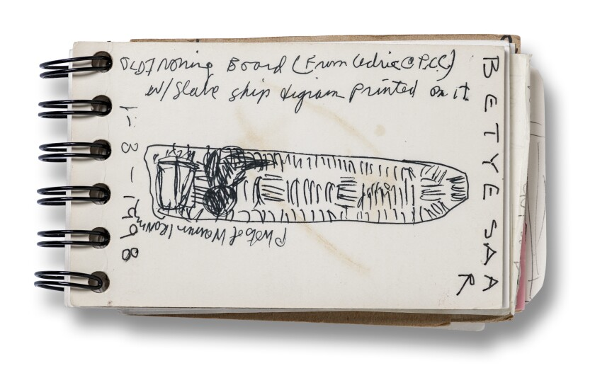 Betye Saar's sketch shows how the ironing board evokes the shape of a famous 18th century British diagram of the packed hold of a slave ship in the Middle Passage between Africa and the Caribbean.