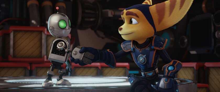 """David Kaye is the voice of Clank, left, and James Arnold Taylor is the voice of Ratchet in """"Ratchet and Clank."""""""