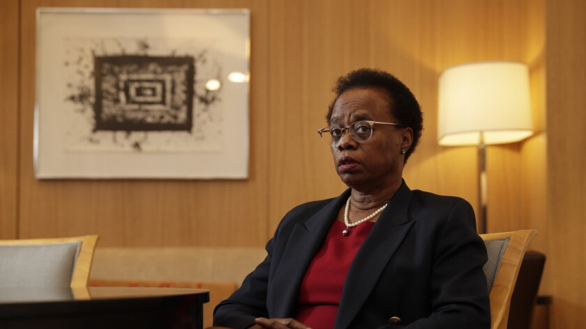 "LOS ANGELES CA OCTOBER 19, 2018 -- Dr. Wanda Austin, USC's interim president, talks about an ""agree"