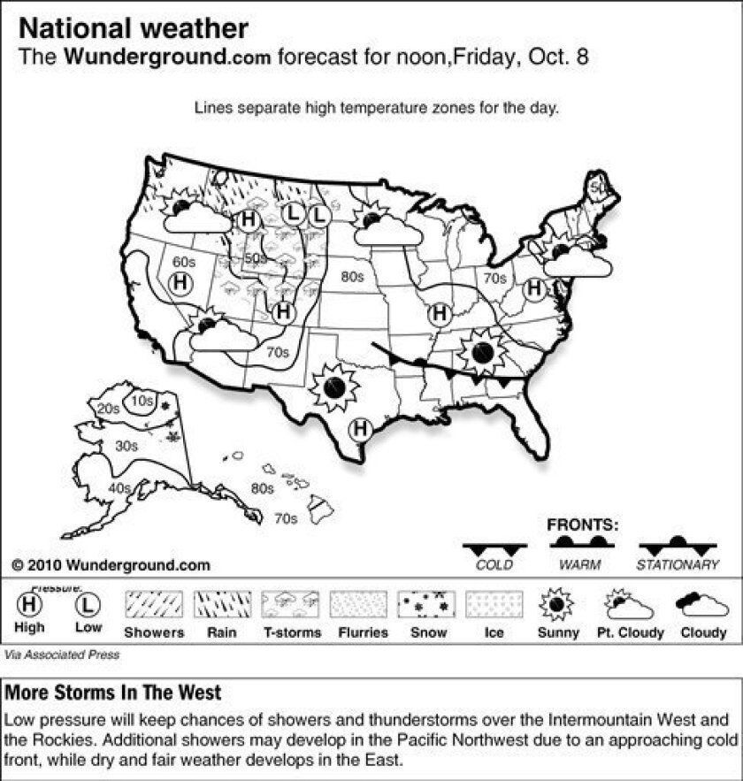 The forecast for noon, Friday, Oct. 8, 2010 shows low pressure will keep chances of showers and thunderstorms over the Intermountain West and the Rockies. Additional showers may develop in the Pacific Northwest due to an approaching cold front, while dry and fair weather develops in the East. (AP Photo/Weather Underground)