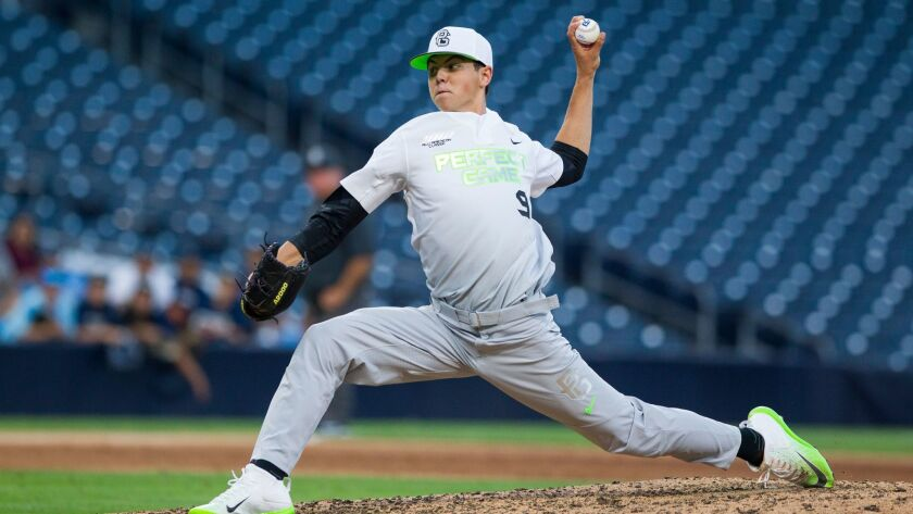 Padres first round draft pick Mackenzie Gore throws for the East team during the 2016 Perfect Game All-American Classic at Petco Park.