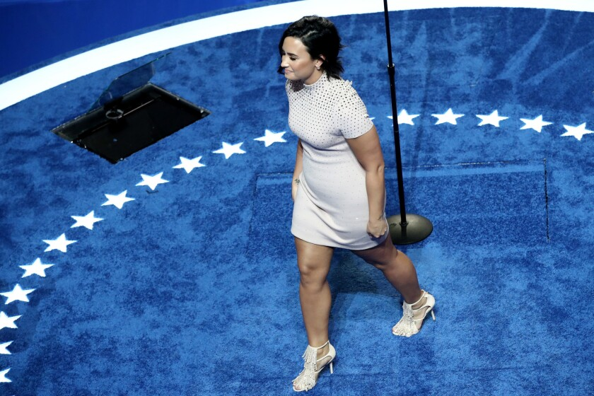 Demi Lovato takes the stage at the Democratic National Convention.
