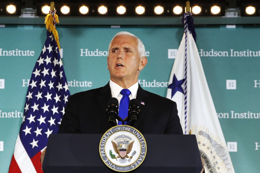"""Vice President Pence speaks Thursday, Oct. 4, 2018, at the Hudson Institute in Washington. Pence said China was using its power in """"more proactive and coercive ways to interfere in the domestic policies and politics of the United States."""""""