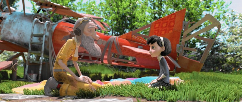 """Mackenzie Foy voices the Little Girl and Jeff Bridges voices the Aviator in the stop-motion animated film """"The Little Prince."""""""