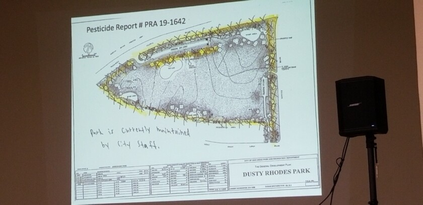 Anne Jackson's presentation on the City's pesticide includes a photo of Dusty Rhodes Park, with the areas being sprayed highlighted in yellow.