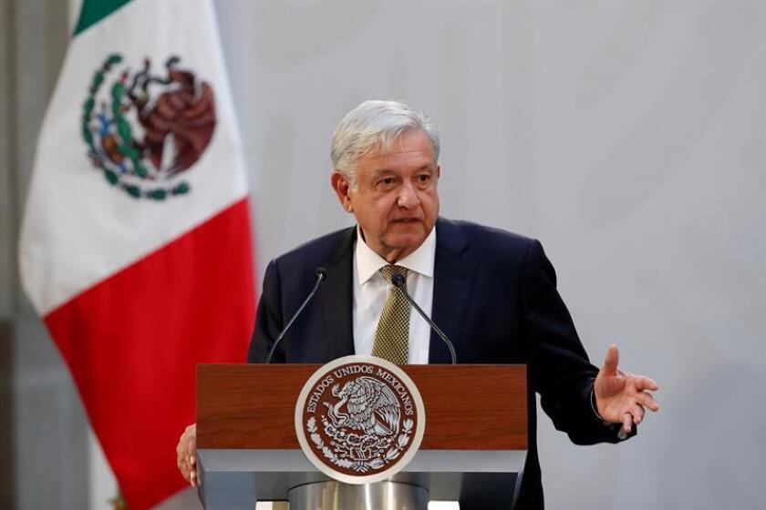El presidente de México, Andrés Manuel López Obrador, habla durante un acto celebrado en Ciudad de México (México). EFE