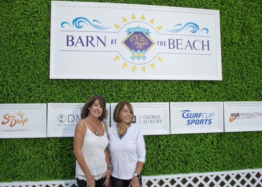 "Lynn Prescott and Meg Harris attend the ""Bash at the Beach"" in the Barn on the Beach in Del Mar"