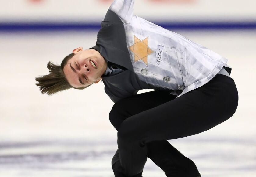 Russia's Anton Shulepov performs in the men free skating at the Grand Prix of Figure Skating event Nov. 23 in Sapporo, Japan.