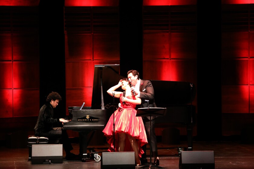 "Soprano Ailyn Perez and tenor Joshua Guerrero perform with pianist Abdiel Vazquez during San Diego Opera's ""One Amazing Night"" concert on Dec. 11 at the Balboa Theatre."