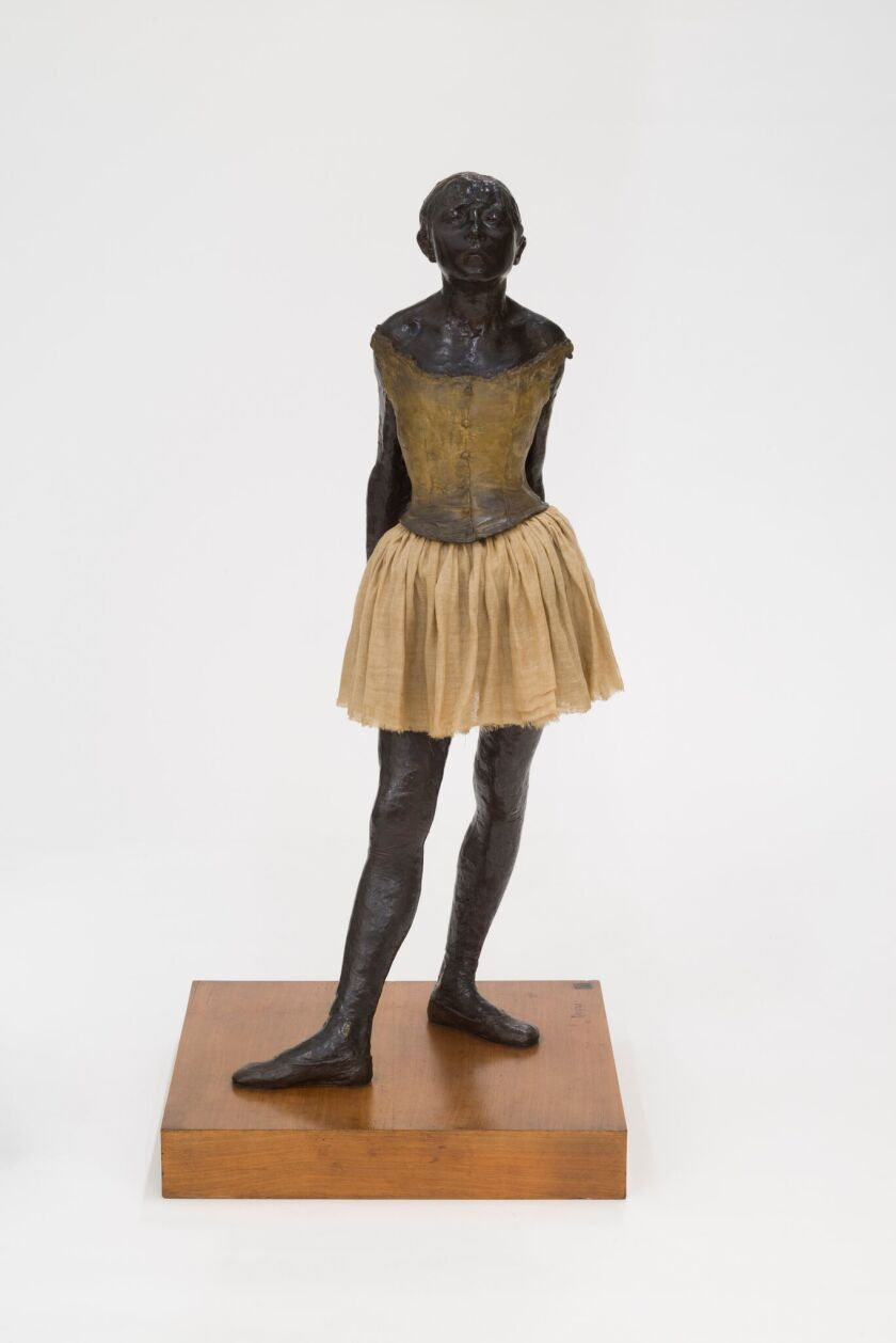 """Edgar Degas, """"The little fourteen-year-old dancer,"""" 1879-81, cast 1922-37; bronze with cotton skirt and satin ribbon"""