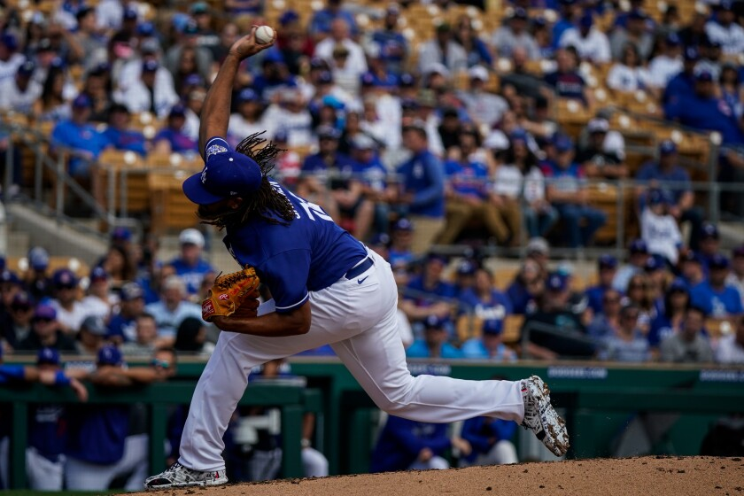 Dodgers closer Kenley Jansen delivers during an exhibition game against the Cubs on Feb. 23.