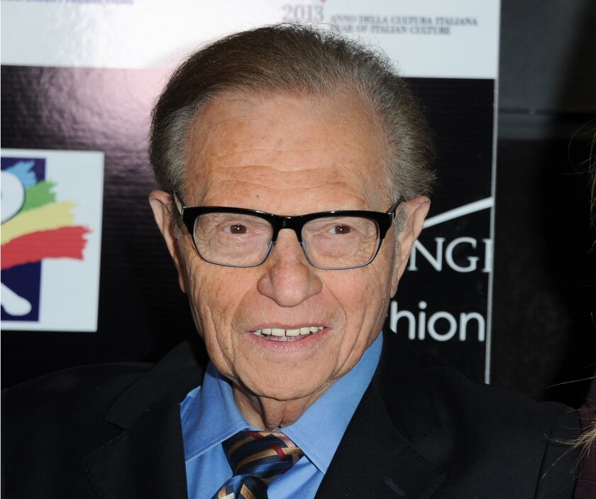 FILE - This Feb. 17, 2013 file photo shows Larry King at the 8th Annual Los Angeles, Italia Film, Fashion and Art Festival.