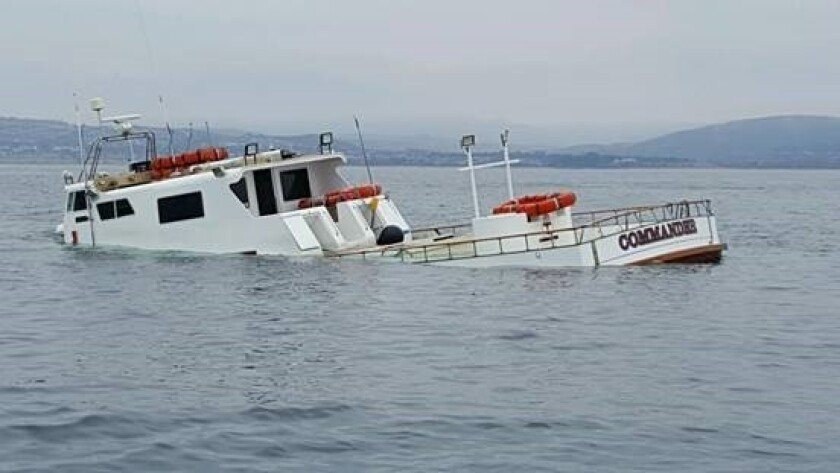 The Commander adrift off the Dana Point coast after its owners tried to sink it in an insurance scam.