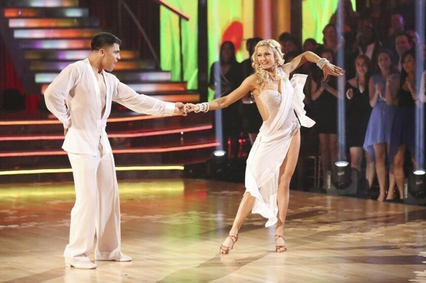 Boxer Victor Ortiz, with partner Lindsay Arnold, was the latest star knocked out of the competition.