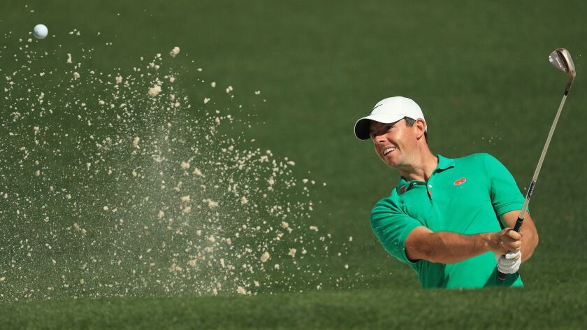 Rory McIlroy plays a shot during a Masters practice round at Augusta National on Wednesday.