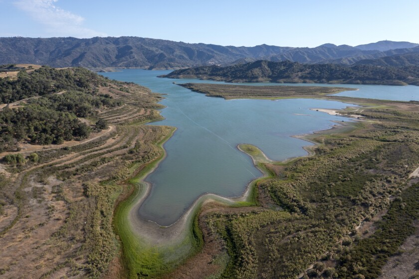 An aerial view of Lake Casitas near Ojai in Ventura County shows a receding waterline on June 22.