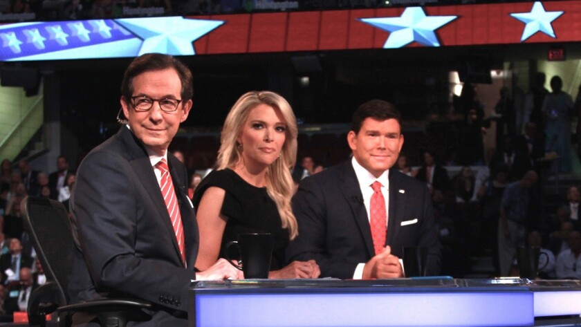 Chris Wallace, left, Bret Baier and Megyn Kelly moderate the Republican presidential debate on Fox News.
