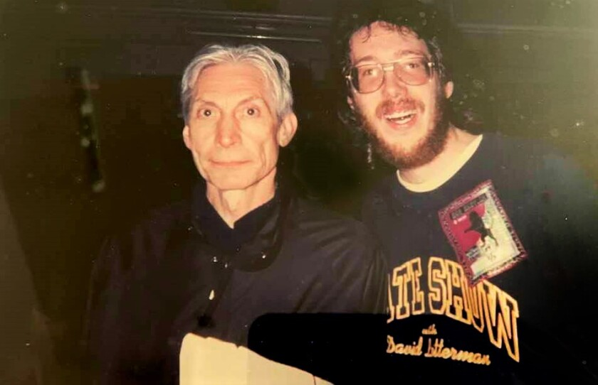 David Peck with Charlie Watts when they first met at Jack Murphy Stadium in 1998.