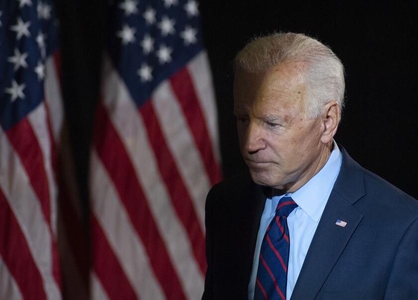 Democratic presidential candidate Joe Biden addresses the whistleblower report