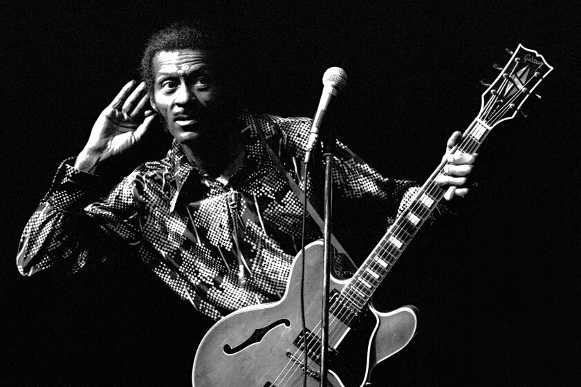 Chuck Berry with his guitar