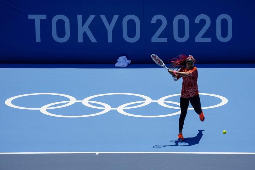 Naomi Osaka practices ahead of the Tokyo Olympics