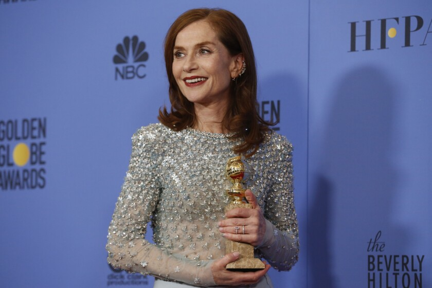 "Isabelle Huppert on Sunday won the Golden Globe for actress in a drama for her work in the thriller ""Elle."""