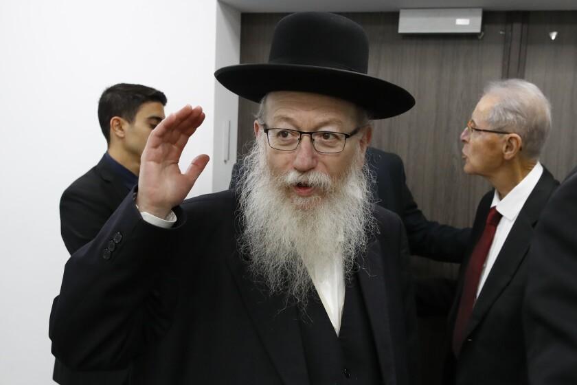 El entonces ministro de salud de Israel Yaakov Litzman en Tel Aviv, Israel.