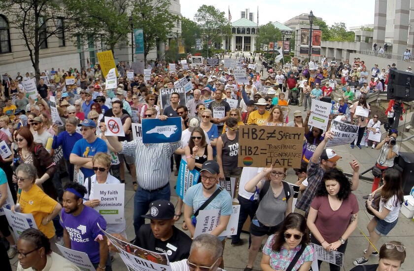 Protesters rally against House Bill 2 in Raleigh, N.C., on April 25.