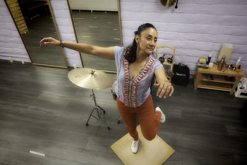 Tap-dancer/percussionist Claudia Gomez at her studio in North Park.