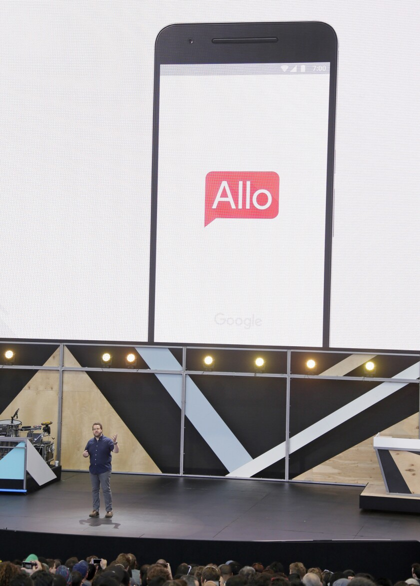 Google engineering director Erik Kay talks about the new Allo messaging app at the Google I/O conference last week.