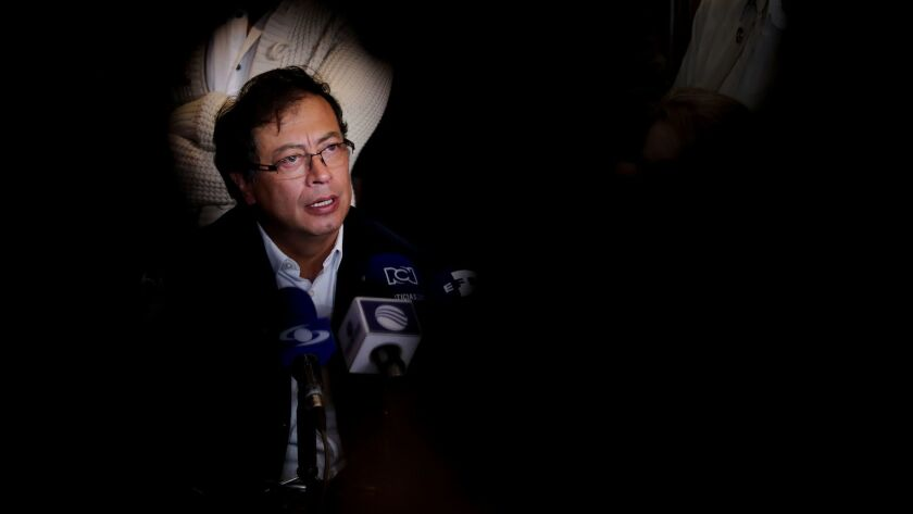 Leftist Gustavo Petro says he can win the Presidency of Colombia, Bogota - 11 Mar 2018
