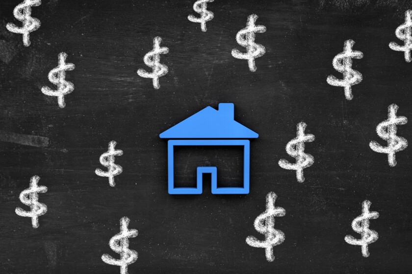 An image of dollar signs surrounding a house