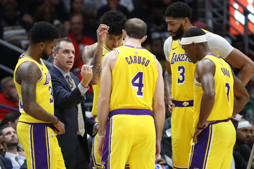 Lakers coach Frank Vogel talks with his team during a game against the Pelicans on Nov. 27, 2019, at Smoothie King Center in New Orleans.
