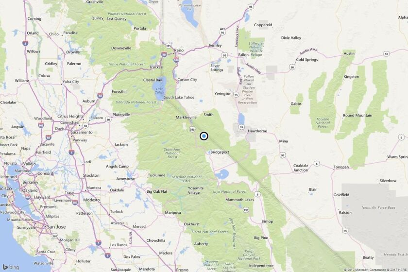 Map shows the approximate location of the epicenter of Saturday morning's magnitude 3.3 earthquake near Bridgeport, Calif