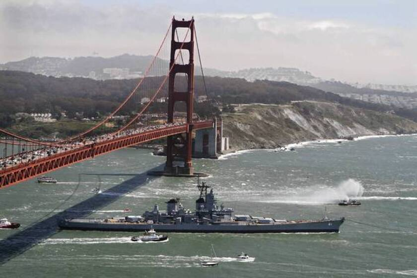 Bay Area crowds see battleship Iowa off on final voyage
