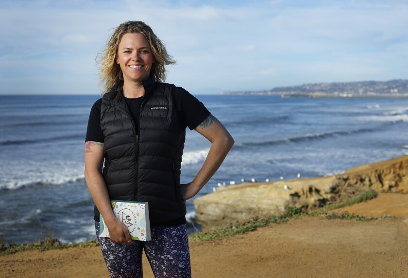 "Sydney Williams is the San Diego-based author of ""Hiking My Feelings,"" which details how hiking helped her heal her body and mind. She is shown at Sunset Cliffs Natural Park, one of her favorite local spots. She will be signing and discussing her book on Sunday, Jan. 12 at the Diesel bookstore in Del Mar."