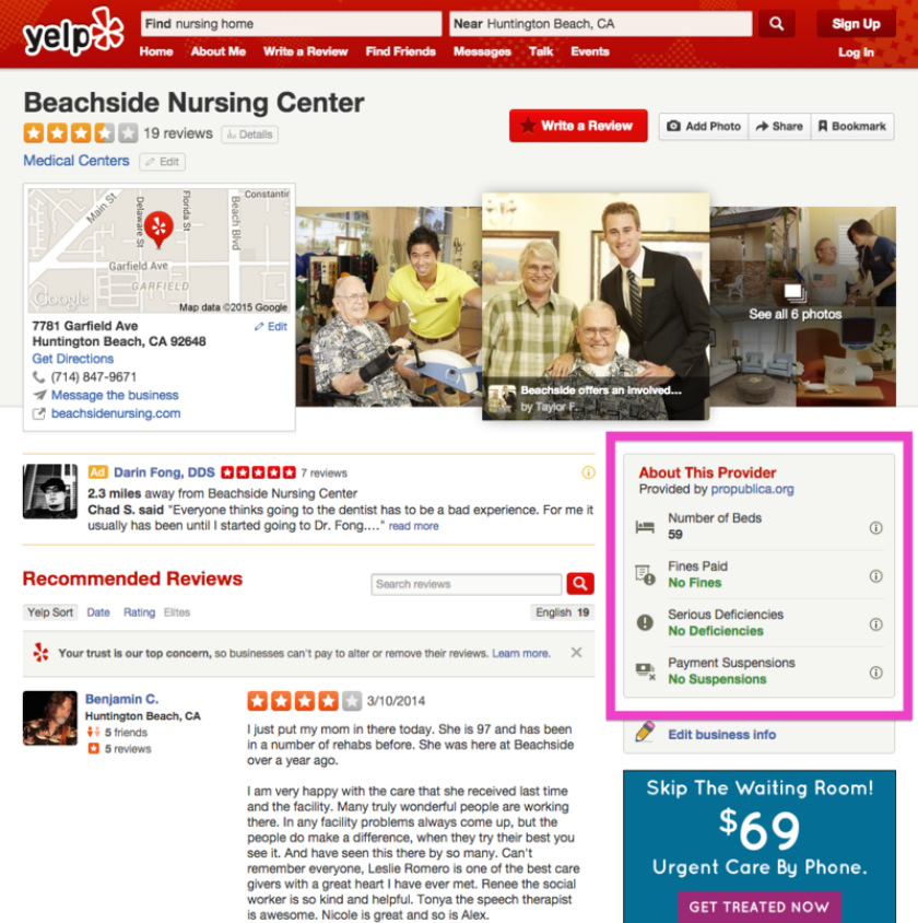 Yelp will provide healthcare data for more than 25,000 facilities in the U.S.
