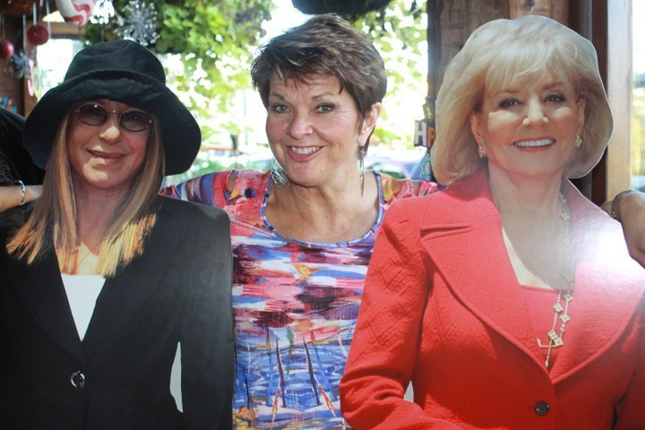 Barbara Olsen Smith (center) with cardboard cutouts of some famous Babs — Barbra Streisand and Barbara Walters