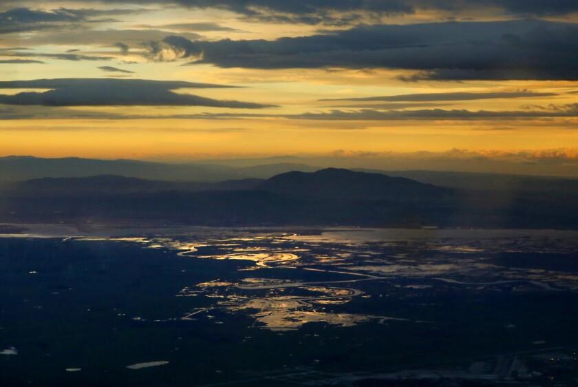 Sunrise over the Sacramento River delta