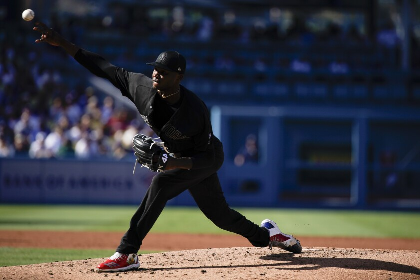 Yankees starting pitcher Domingo German delivers during Sunday's win over the Dodgers.