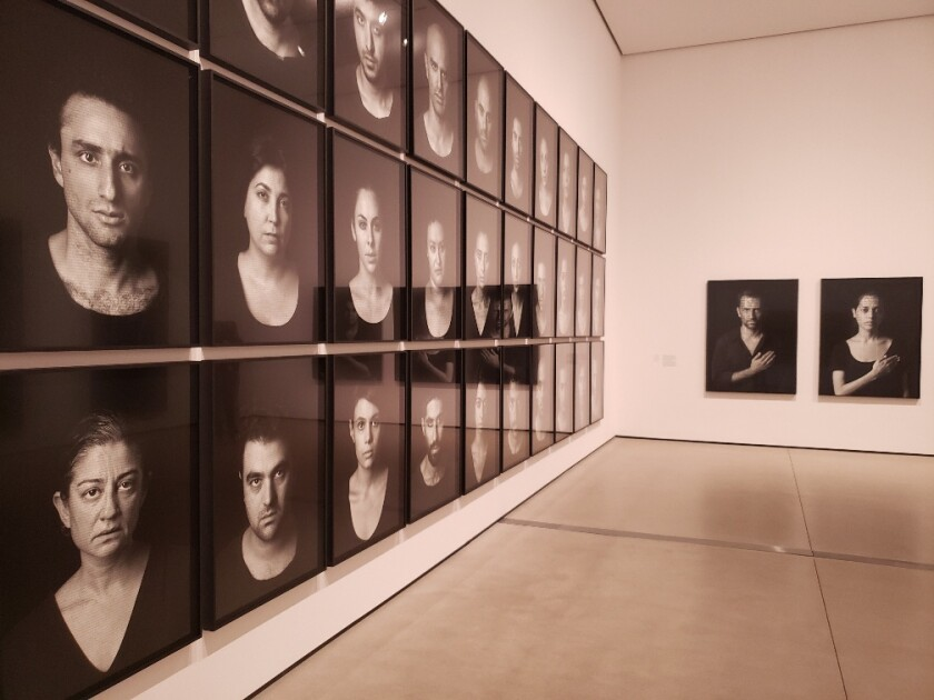 "Installation view of ""Shirin Neshat: I Will Greet the Sun Again"" at the Broad."